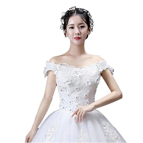 ピーク処方する群れ2017 ウェディングドレス 花飾りパーティドレス 一字肩 Aライン チューブトップ ワンピース 編み上げタイプ ブライダルドレス 結婚式 ベアトップ 花嫁 二次会 ドレス