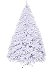 Goplus White Artificial Christmas Tree, Premium Unlit Hinged Spruce Full Tree, with Metal Stand, Easy Assembly, for Indoor and Outdoor Use
