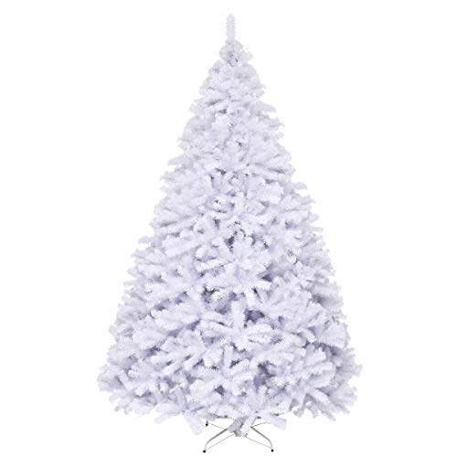Goplus White Artificial Christmas Tree, 9ft Premium Unlit Hinged Spruce Full Tree, with Metal Stand, Easy Assembly, for Indoor and Outdoor Use