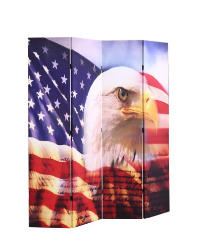 Screen Print Flag - Legacy Decor 4-panel Room Screen Divider American Eagle Flag Double Sided Canvas 70