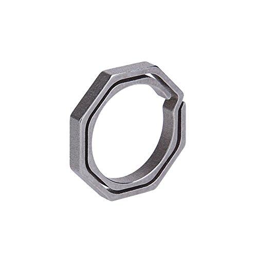 Domybest Titanium TC4 Ti Key Chain Octagon Key Ring Keychain CNC Size 20mm ()