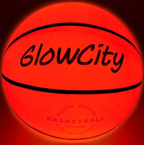 GlowCity LED Light-Up Basketball - Size 6, 28.5-inch, Official Size Women's Basketball, Good for Pre-Teens Too - Impact Activated Glow-in-The-Dark, Nylon Wound Durability, Batteries Included