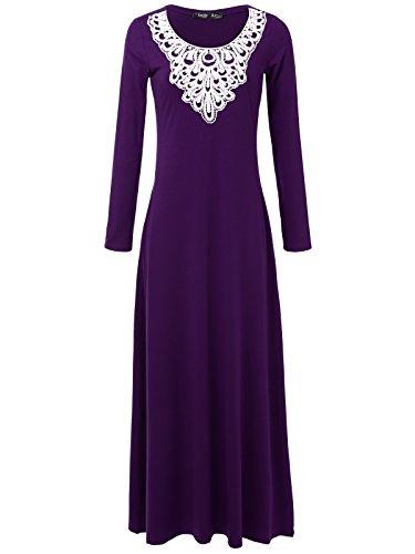 JayJay Women Gorgeous Long Sleeve Lacy Maxi Dress With Pocket,Purple,2XL