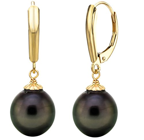 """14k Yellow Gold 10 10.5mm Black Baroque Tahitian Cultured Pearl Pendant and Lever back Earrings, 18"""""""
