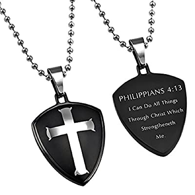 Christ My Strength I Can Do All Things (Phil 4:13) Black Cross Shield Pendant Necklace in Gift Bag