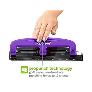 Bostitch EZ Squeeze Reduced Effort 3-Hole Punch, 12 Sheets, Purple (2105)