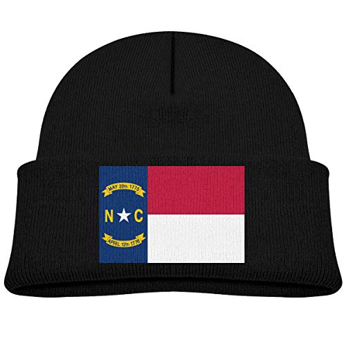 Unisex-Child Knit Beanie Hat Flag of North Carolina Cuffed Cotton Soft Cute Skull Cap Black