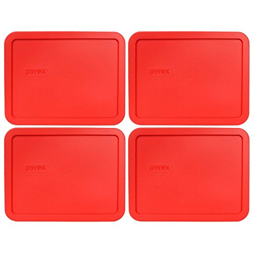 Pyrex 7211-PC 6 Cup Red Rectangle Food Storage Lid for Glass Dish (4, Red) 6 Cup Rectangle Storage