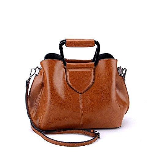 Hope Frauen Echtes Leder Handtasche Damen Portable Umhängetasche Bürotasche Totes Top Griff Satchel Umhängetasche Brown SC0p6K