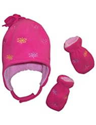 N'Ice Caps Girls Micro Fleece Hat and Mitten Set with Flowers Embroidery