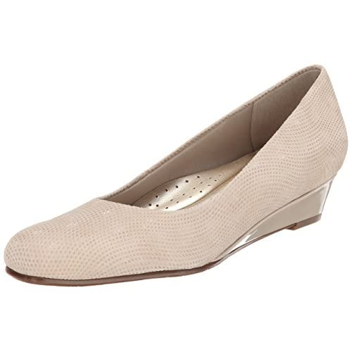 Trotters Women's Lauren Dress Wedge, Nude Suede, 8.5 W US