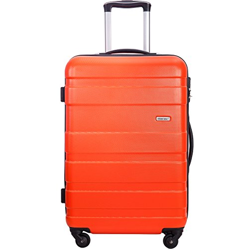 Merax Afuture 20 24 28 inch Luggage Lightweight Spinner Suitcase (20-Carry on, Orange)