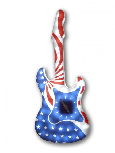 - Creative Motion Battery-Operated LED American Rock Guitar Wall Clock without Adapter