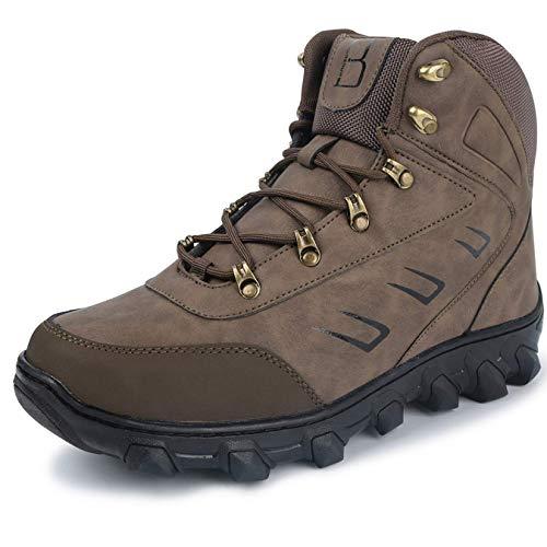 Per L Caviglia Boots Snow Mens Alla Pelliccia run Uomo Marrone Fodera Winter Gomma In Peluche Senza Stivaletti qrqXU