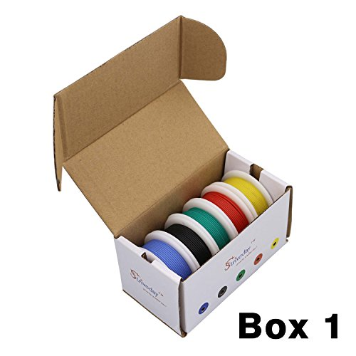 Striveday™ 30 AWG Flexible Silicone Wire Electric wire 30 gauge Coper Hook Up Wire 300V Cables electronic stranded wire cable electrics DIY BOX-1 by striveday (Image #1)