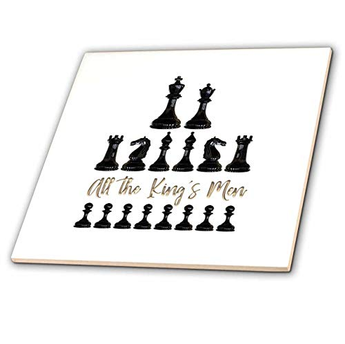 (3dRose Alexis Design - Sport Chess - Set of Black Chessmen and a Text All The Kings Men on White - 4 Inch Ceramic Tile (ct_302155_1))