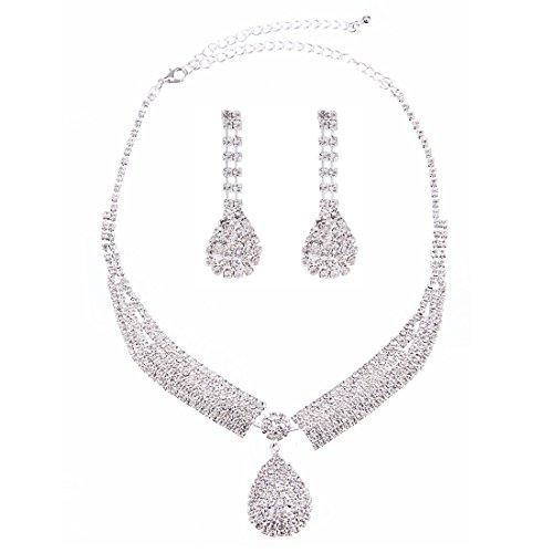 FANCY LOVE Crystal Rhinestone Bridal Necklace Earrings Jewelry Sets by FANCY LOVE JEWELRY (Image #8)
