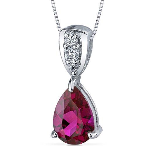 Vivid Energy 2.50 carats Pear Shape Sterling Silver Rhodium Nickel Finish Created Ruby Pendant