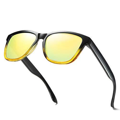 ELITERA Women Sunglasses Famous Lady Designer Gradient Colors Polarized Glasses UV400 E0717 (Black&Yellow, 53)