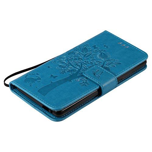 Funda Sony Xperia XA Ultra Case , Ecoway Patrón de mariposa de gato en relieve PU Leather Cuero Suave Cover Con Flip Case TPU Gel Silicona,Cierre Magnético,Función de Soporte,Billetera con Tapa para T azul
