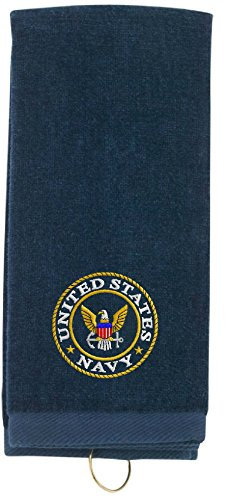 Spiffy Custom Gifts US Navy Embroidered Tri-Fold Sports Towel w/Hook Navy