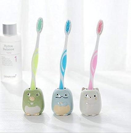 uchic Set de 3 Mini cepillo de dientes y soporte para cepillo de dientes de cerámica