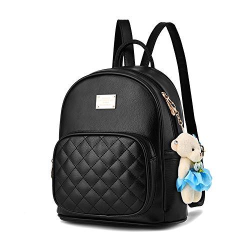 7dc2046b10b0 Cute Small Backpack Mini Purse Casual Waterproof Daypacks Leather for Teen  Girls and Women (Black