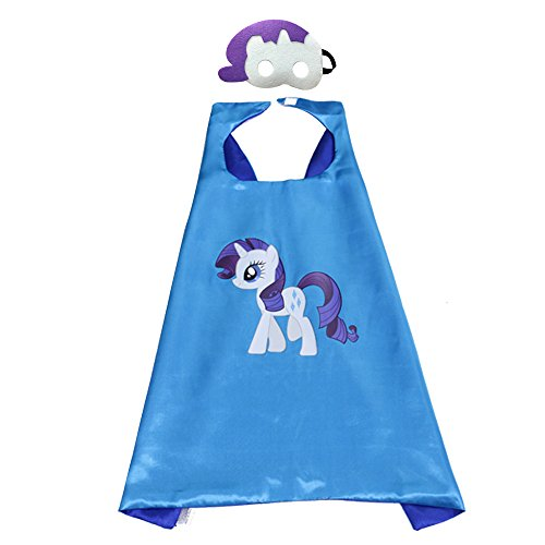 Halloween Unicorn Costumes for My Little Pony Dress Up Capes Mask Horse Costumes for Kids Girls Boys Birthday Party Favors, 2 Piece Set (Rarity) -