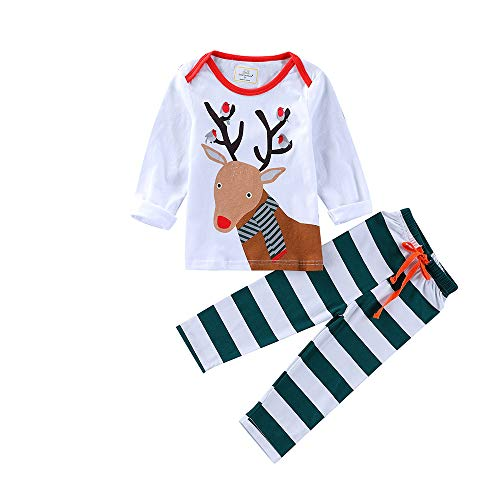 BOLUOYI Bodysuits Baby Girl Long Sleeve 2PCS Christmas Children Kids Cartoon Deer Print Top+Stripe Pants Set Outfit White 6T ()