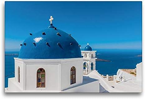Calvendo Premium Lienzo 75 cm x 50 cm Horizontal, la Iglesia Panagia Maltesa en Imerovigli š Imagen sobre Bastidor, Listo para Lienzo auténtico, impresión en Lienzo: Santorini Orte