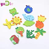 HATABO Wood Wall Sticker Stickers Refrigerator Magnetic 12pcs Cartoon Wood Animal Plant Magnetic Wall Sticker Home Party Magnet Decoration Kids Literacy Preschool Toys Fridge Magnets
