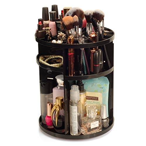 MobileVision Makeup Organizer Rotating Tabletop Cosmetic & Toiletry Holder Adjustable Shelving for Brushes, lotions, perfumes, Nail Polish, Skin Care & More, Black