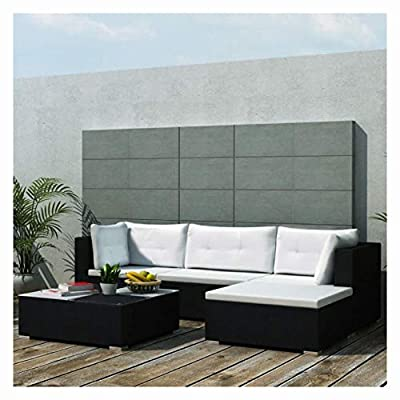 K&A Company Outdoor Furniture Sets, 5 Piece Garden Lounge Set with Cushions Poly Rattan Black