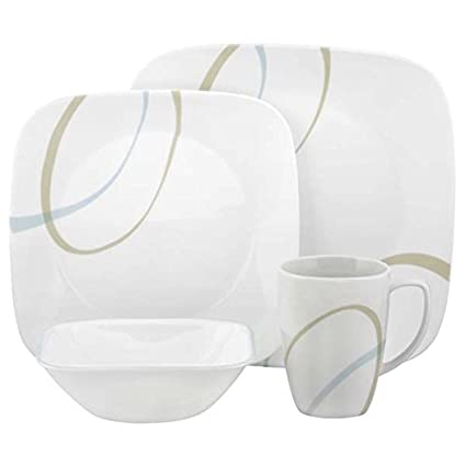 Corelle Square 16-Piece Set Sand and Sky  sc 1 st  Amazon.com & Amazon.com | Corelle Square 16-Piece Set Sand and Sky: Dinnerware ...