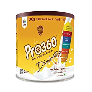 Pro360 Diabetic Protein Powder Nutrition Health Drink Supplement For Diabetes Care – Real Badam Flavour 500G – No Added Sugar