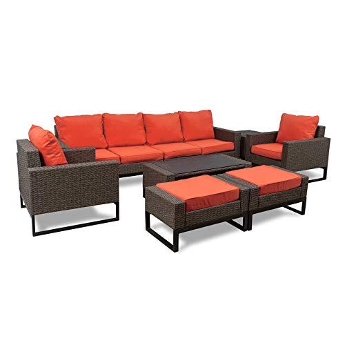 Venice Set - Westin Outdoor Venice 8-Piece Modern Patio Conversation Sofa Set by Orange