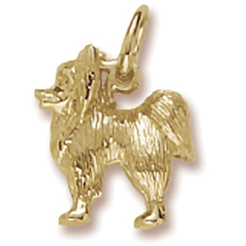 Gold Plated Dog, Papillon Charm, Charms for Bracelets and Necklaces