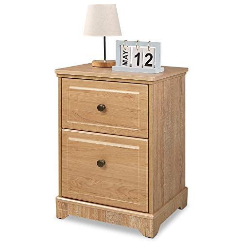 - WLIVE 2 Drawer Wood Nightstand, End Table, Bedside Table for Living Rome and Bedroom, Natural Oak