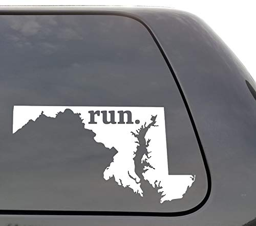 CELYCASY Maryland Run Decal, Maryland, MD Run Decal, State Running Decal, Car Decal, Yeti Decal, Laptop Decal, Window Decal, Vinyl Decal