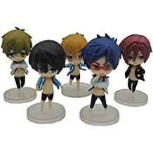 5Pcs/Lot Cute Japanese Anime Iwatobi Swim Club Rin Macoto Haruka Nanase Rei Doll Action Figures Model Toy