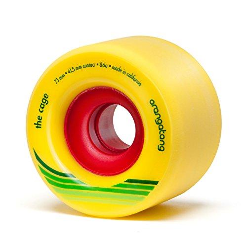 Orangatang Cage 73 mm 86a Freeride Longboard Skateboard Wheels w/Loaded Jehu V2 Bearings (Yellow, Set of 4)