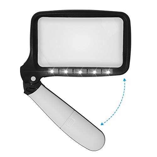 (Trekoo Folding Handheld Magnifying Glass with 5 LED Light - Portable Illuminated Rectangle Magnifier with 2 x Lens for Reading, Books, Newspaper, Printing and Maps)