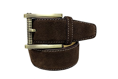 New Men's Marco Valentino Italy Wide Wide Brown Suede Belt - Size: 36