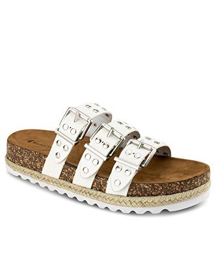 RF ROOM OF FASHION Women's Studded Triple Band Open Toe Lug Sole Slip on Platform Slides Sandals White (8.5)