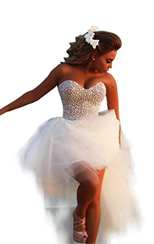 Aprildress Pearls White Beach Wedding Dresses Bridal Gowns High Low with Lace Up, White US-6