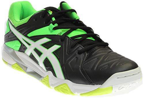 ASICS Men's Gel-Cyber Sensei Volleyball Shoe, Black/White/Green Gecko, 8 M US