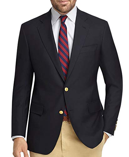 (Brooks Brothers Men's Textured Explorer Regent Fit Two Button Blazer Jacket Navy Blue (44L Long))