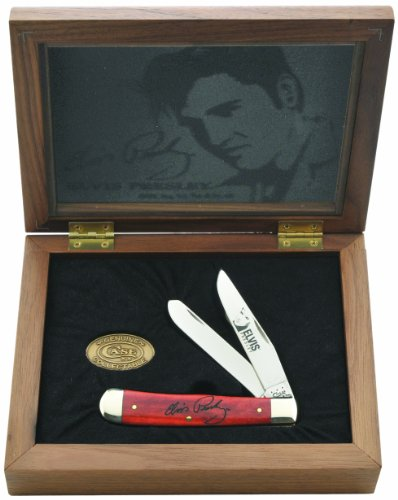 (Case Cutlery 17504 Elvis Presley Commemorative Trapper with Smooth Old Red Bone Handle)