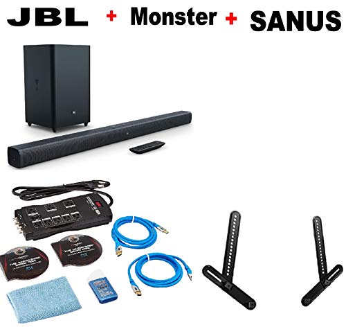 JBL Bar 3.1 Home Theater Starter System with Soundbar and Wireless Subwoofer with Bluetooth + Sanus SA405-B1 Series 1 Soundbar Mount Black + Monster Home Theater Accessory Bundle ()