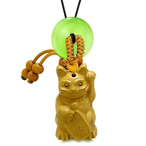 Fortune Cat Lucky Donut - Maneki Neko Fortune Cat Car Charm or Home Decor Green Simulated Cats Eye Lucky Coin Donut Protect Amulet